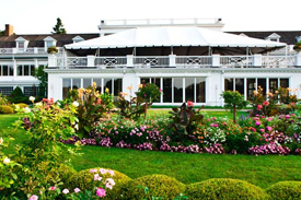 westmoreland country club with clubhouse and flowers in bloom